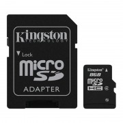 Карта памяти microSDHC 8Gb Kingston (Class 4)  + Adapter SD